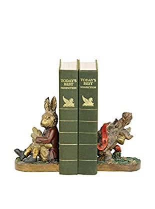 Pair of Tortoise and Hare Bookends, Brown/Cream/Red