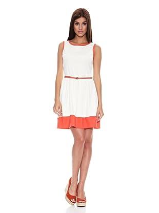 Springfield Vestido Contraste Bajo (Blanco / Coral)
