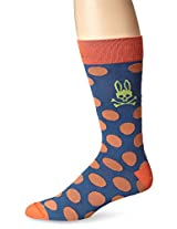 Psycho Bunny Men's Large Polka Dot Crew Sock, Chili, One Size