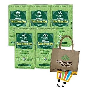 Organic India 5 Packs of Tulsi Green Tea + Free Jute Bag