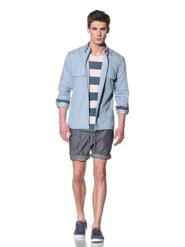 Fremont Men's Long Guy Shirt with Tabbed Sleeves (Bleach Denim)