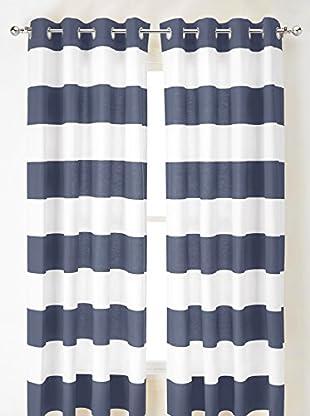 Nautica Cabana Stripe Curtain, Blue