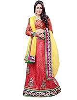 Suchi Women Net Lehenga Saree (Sfjag90265 _Red And Yellow _Free Size)