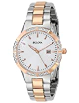 Bulova Diamond Analog White Dial Women's Watch - 98R169