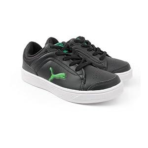 Puma Unisex Skool Jr Ind. Black and Poison Green Sneakers - 13C UK