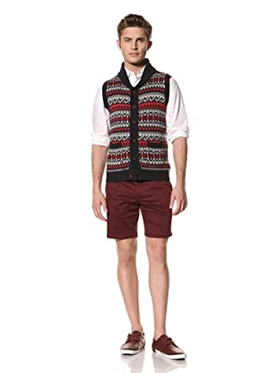 Creep by Hiroshi Awai Men's Cotton Fair Isle Knit Lodge Vest (Navy)