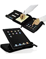 MACALLY BLACK ORGANIZER CASE ROTATE STAND POCKETS FOR iPAD 2nd 3rd 4th GEN (MISSING RETAIL PACKAGE)