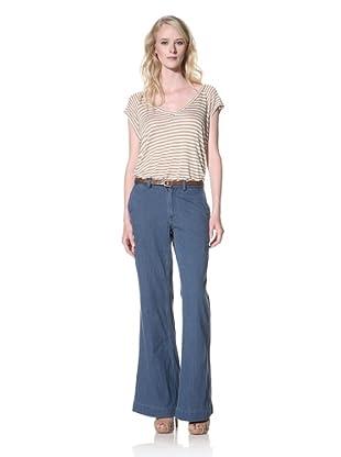 Trovata Women's Leigh Wide Leg Pant (Denim Backed Chambray)