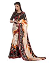 Shoppingover partywear silk crepe saree in multicolor digital print