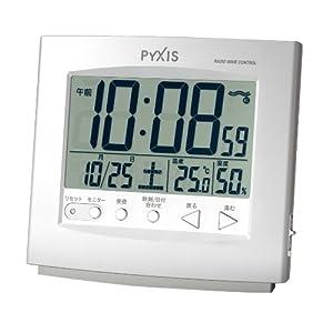 PYXIS (ピクシス) 目覚まし時計 デジタル 電波時計 NR525W