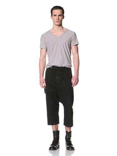 Rick Owens DRKSHDW Men's Tailored Swing Cropped Pant (Triple Black)