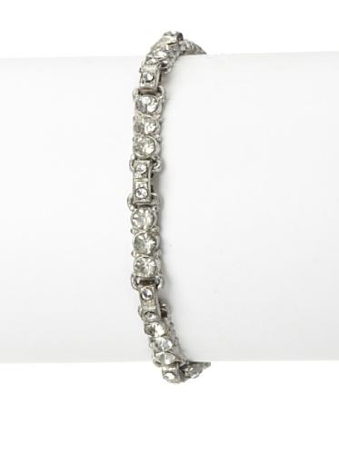 Lulu Frost 1920's Art Deco Single Strand Bracelet, Antique Silver