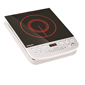 Philips HD4908 2100-Watt Induction Cooktop with Touch Button (Black/Red)