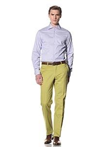 Domenico Vacca Men's Striped Button-Up Shirt (White/Blue Stripes)
