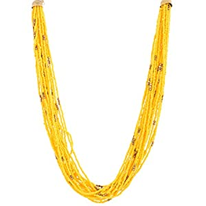 The Crazy Neck Yellow Beads Multi Layered Neck Piece Necklace