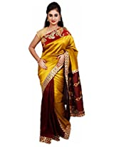 Diva Women's Satin Saree (Methi Green and Maroon )