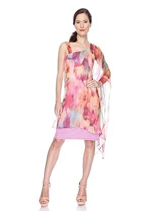 Ugli Sista Vestido de Seda Asimétrico (Rosa / Naranja)