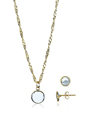 Silver One Conjunto de cadena, colgante y pendientes  plata de ley 925 milésimas bañada en oro