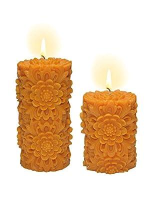 Volcanica Set of 2 Orange Dendritic Pillar Candles