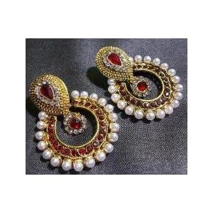 Mirraw Pearl Polki Earrings