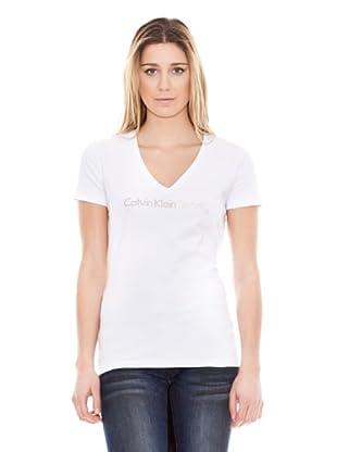 Calvin Klein Jeans Camiseta Stretch Cuello V M/C (Blanco)