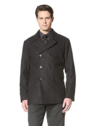 Calvin Klein Men's Double-Breasted Pea Coat (Charcoal)