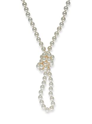 Perldor - 60650207 Collar de mujer Gris de ley con perla natural Blanco 90 cm