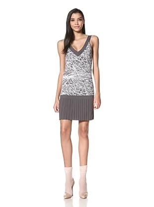 Z Spoke Zac Posen Women's V-Neck Dress (Grey/White)