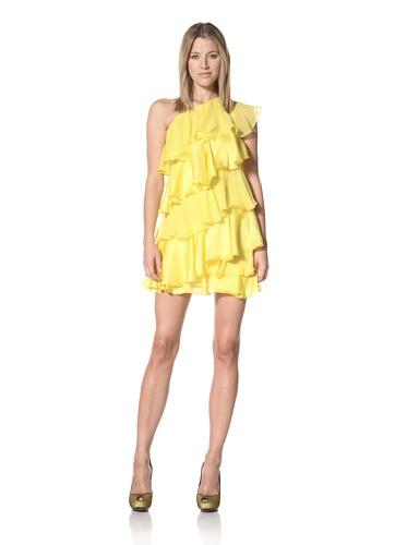Halston Heritage Women's One-Shoulder Tiered Dress (Citron)