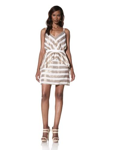 Dallin Chase Women's Klaus Striped Tank Dress with Peplum (Ivory)