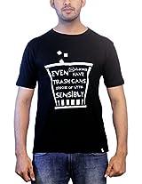 THESMO Unisex Round Neck Cotton T-Shirt, Black, XXL