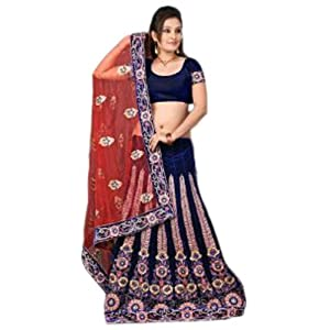 Royal Blue and Red Net and Velvet Lehenga Style Saree With Blouse