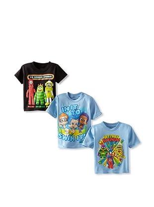 Freeze Boy's Nickelodeon 3-Pack T-Shirt Bundle (Carolina Blue/Black)