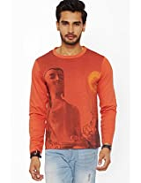 Printed Rust Round Neck T-Shirt