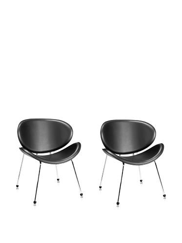Zuo Set of 2 Modern Match Lounge Chairs (Black)