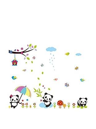 Ambiance Sticker Wandtattoo Babies Pandas Playing Under The Rain
