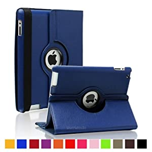"2010kharido 360 Rotating PU Leather Case Cover For Apple ipad Mini 7.9"" Navy Blue"