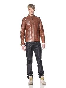 i.am Men's Leather Moto Jacket (Cognac)