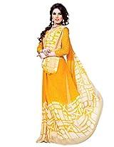 Riti Riwaz Yellow & White saree with unstitched blouse RVL334B