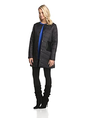 French Connection Women's Quilted Jacket with Faux Leather Trim (Black)