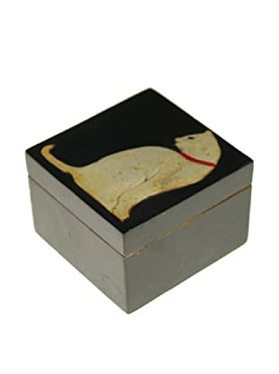 The Niger Bend Small Square Soapstone Box with White Cat Design