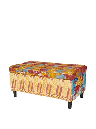 One of a Kind Kantha Storage Bench, Red/Yellow Multi