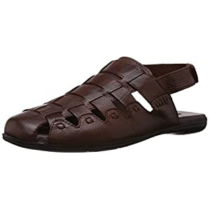 Egoss Men's Tan Leather Sandals and Floaters - 7 UK (S-82)