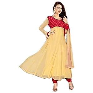 Designer Cream and Red Anarkali suit