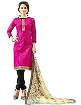 Viva N Diva Pink Color Chanderi Cotton Suit.