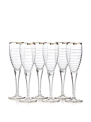 A Casa K Totem Set of 6 Hand Cut Crystal & Platinum 2-Oz. Liqueur Glasses