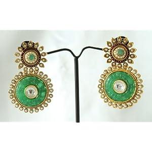 Kundan Polki Earrings with Stone & Pearl Jhumkas Danglers Drops Ethnic Traditional Designer