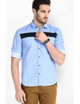 Solid Blue Casual Shirt Locomotive