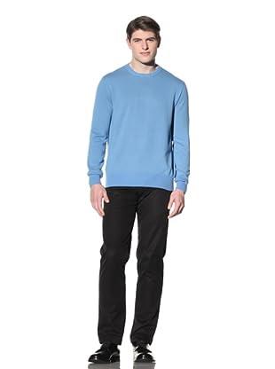 Cruciani Men's Crew Neck Knit Sweater (Cornflower Blue)