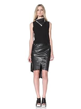 Ann Demeulemeester Women's Leather Layered Skirt (Black)